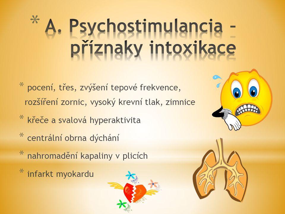A. Psychostimulancia – příznaky intoxikace