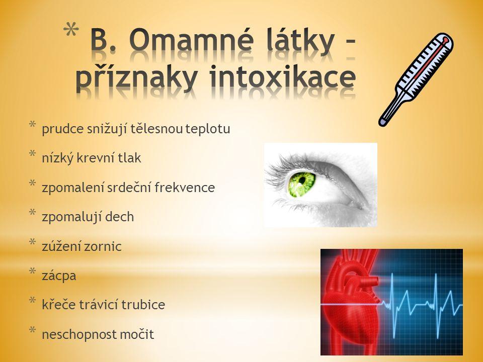 B. Omamné látky – příznaky intoxikace