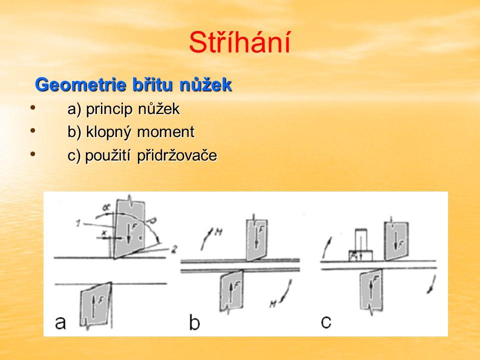 Stříhání Geometrie břitu nůžek a) princip nůžek b) klopný moment