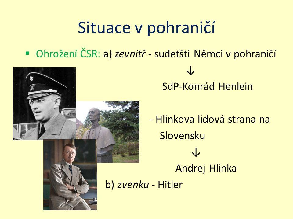 Situace v pohraničí Ohrožení ČSR: a) zevnitř - sudetští Němci v pohraničí. ↓ SdP-Konrád Henlein. - Hlinkova lidová strana na.