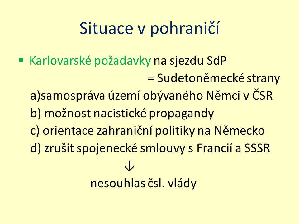 Situace v pohraničí Karlovarské požadavky na sjezdu SdP