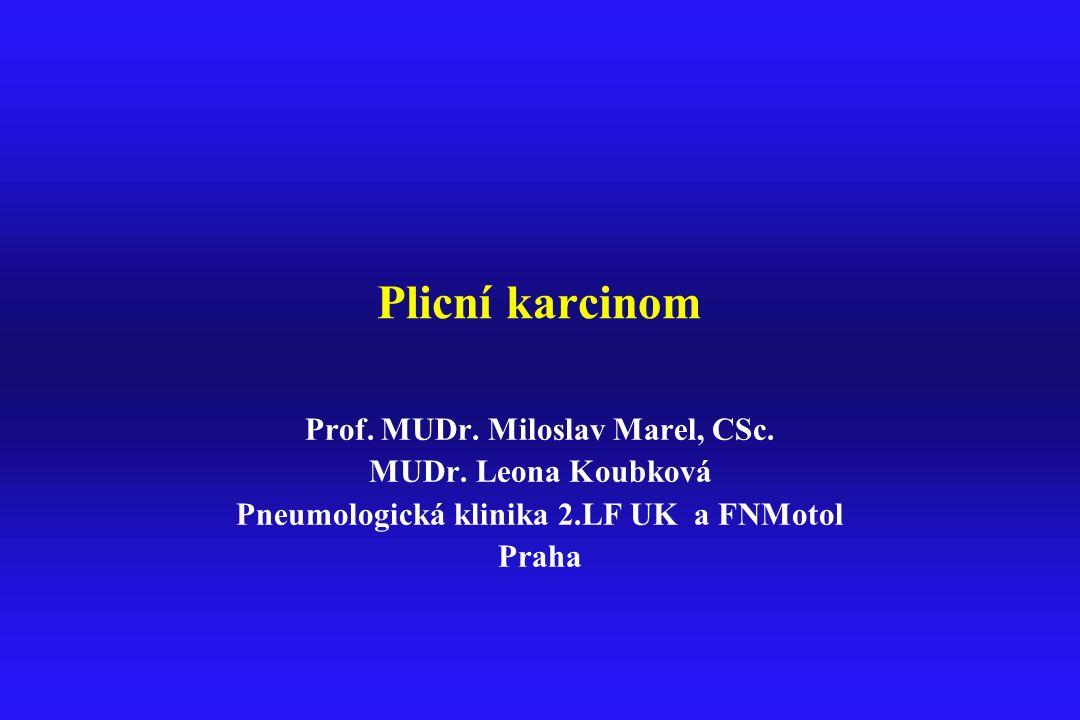 Plicní karcinom Prof. MUDr. Miloslav Marel, CSc. MUDr. Leona Koubková