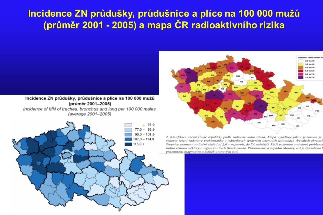 Incidence ZN průdušky, průdušnice a plíce na 100 000 mužů (průměr 2001 - 2005) a mapa ČR radioaktivního rizika