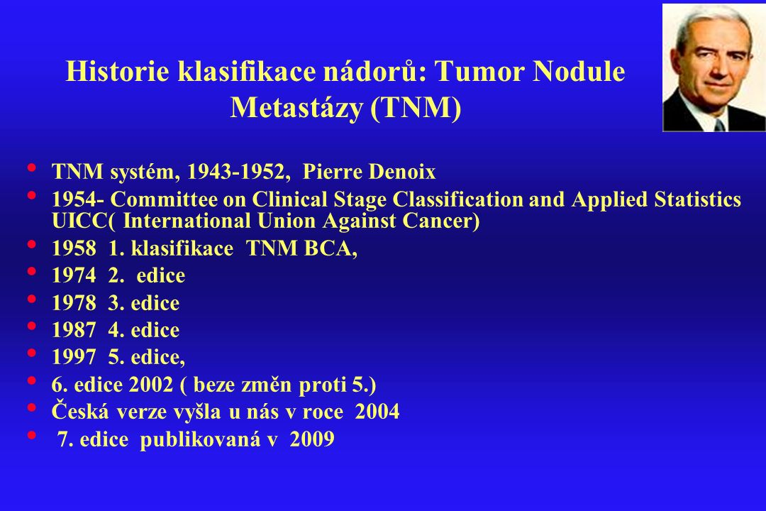 Historie klasifikace nádorů: Tumor Nodule Metastázy (TNM)