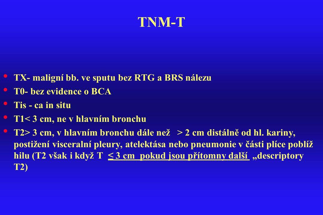 TNM-T TX- maligní bb. ve sputu bez RTG a BRS nálezu