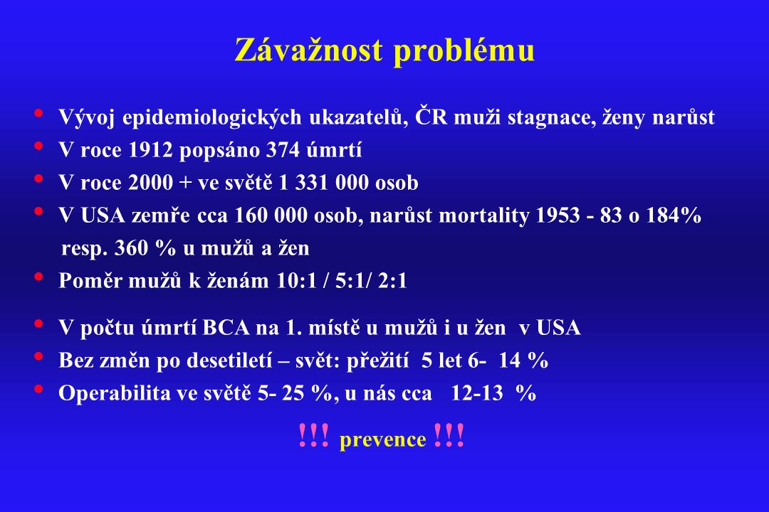 Závažnost problému !!! prevence !!!
