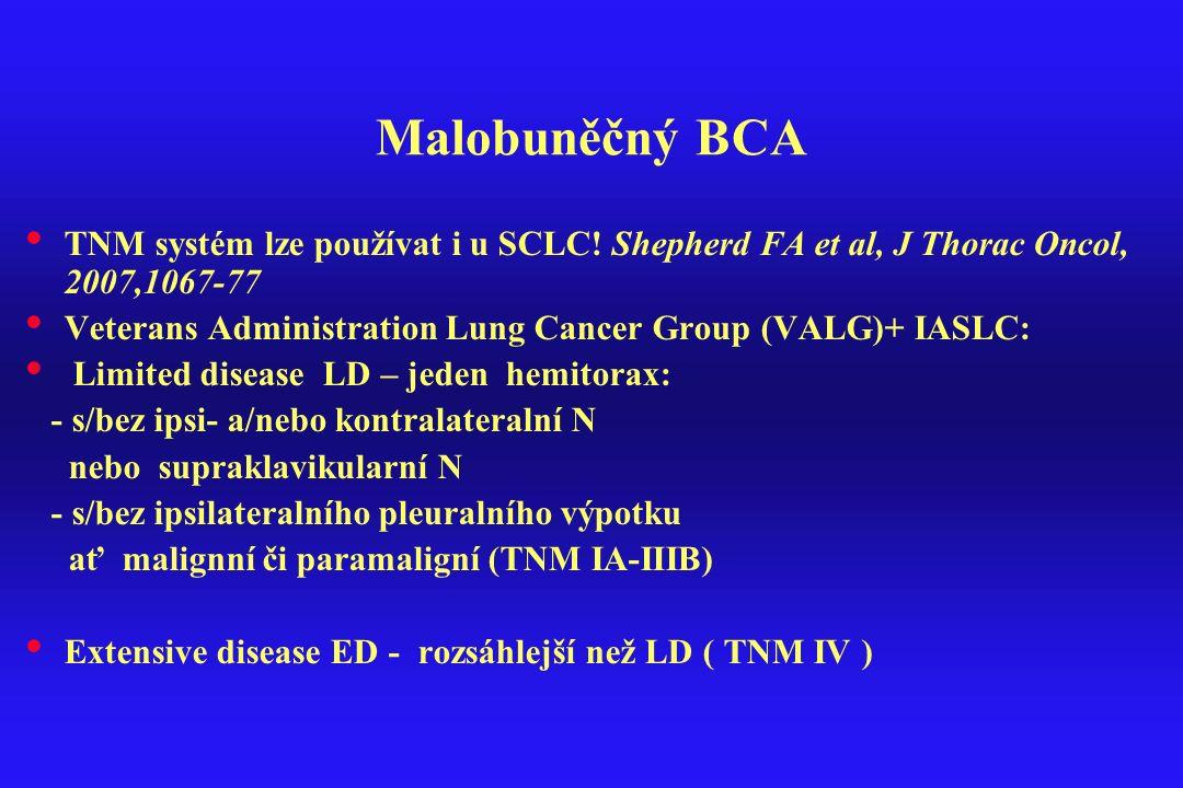 Malobuněčný BCA TNM systém lze používat i u SCLC! Shepherd FA et al, J Thorac Oncol, 2007,1067-77.