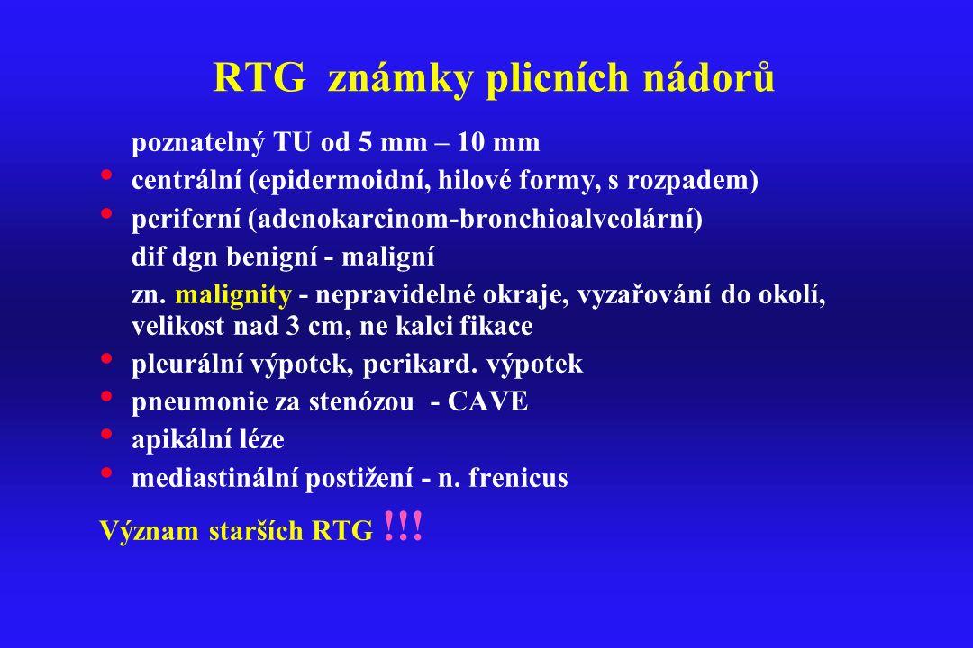RTG známky plicních nádorů