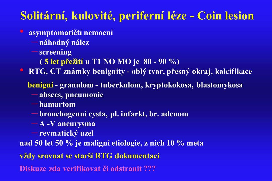 Solitární, kulovité, periferní léze - Coin lesion