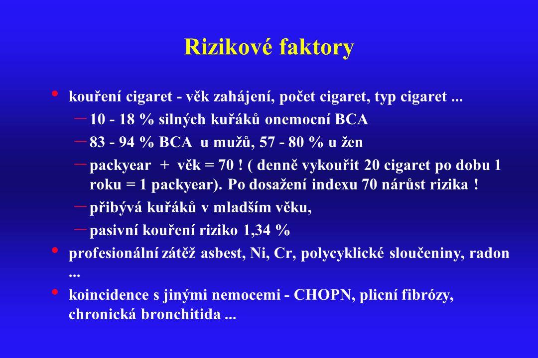 Rizikové faktory kouření cigaret - věk zahájení, počet cigaret, typ cigaret ... 10 - 18 % silných kuřáků onemocní BCA.