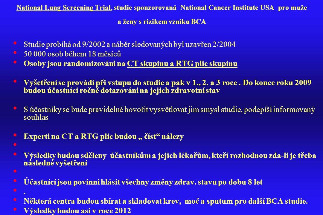 Studie probíhá od 9/2002 a náběr sledovaných byl uzavřen 2/2004
