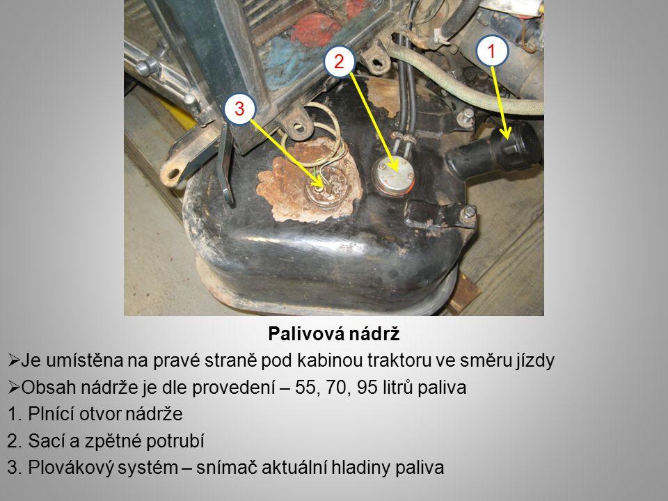 1 2. 3. Palivová nádrž. Je umístěna na pravé straně pod kabinou traktoru ve směru jízdy. Obsah nádrže je dle provedení – 55, 70, 95 litrů paliva.