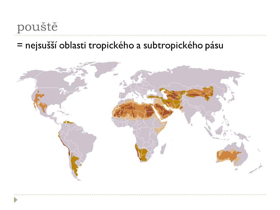 pouště = nejsušší oblasti tropického a subtropického pásu