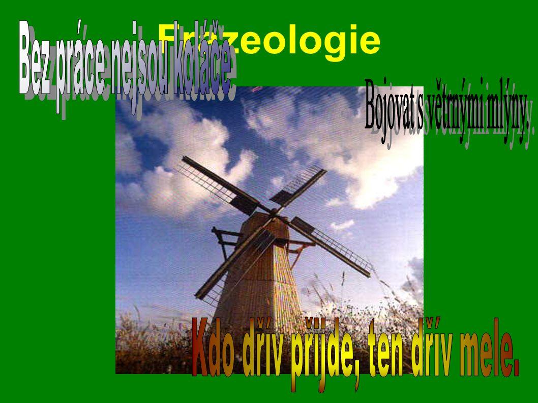 Frazeologie Bez práce nejsou koláče Bojovat s větrnými mlýny.