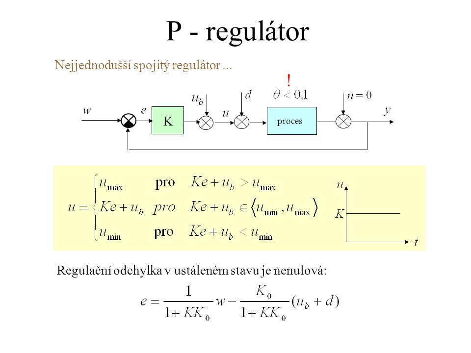 P - regulátor ! Nejjednodušší spojitý regulátor ... K