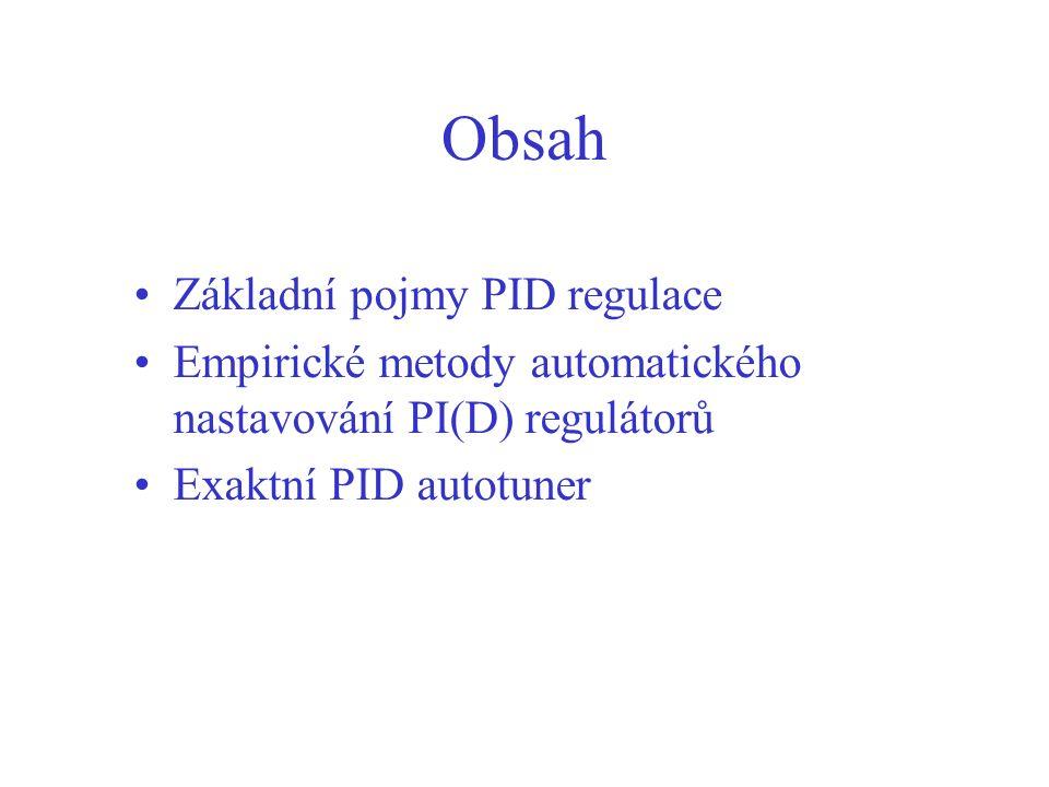 Obsah Základní pojmy PID regulace
