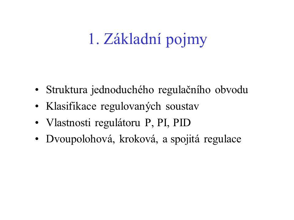 1. Základní pojmy Struktura jednoduchého regulačního obvodu