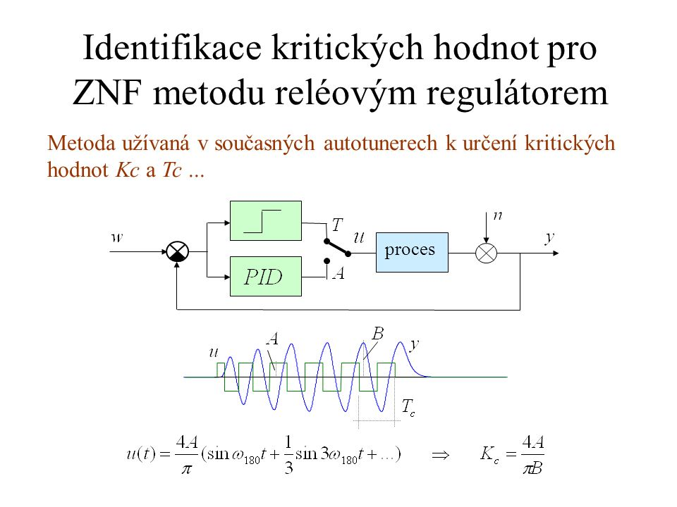 Identifikace kritických hodnot pro ZNF metodu reléovým regulátorem