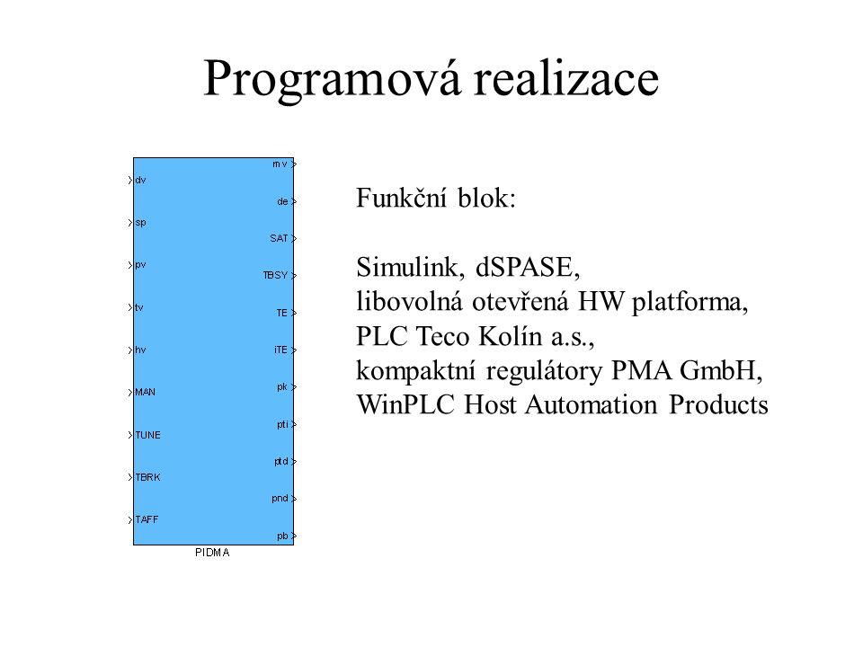 Programová realizace Funkční blok: Simulink, dSPASE,