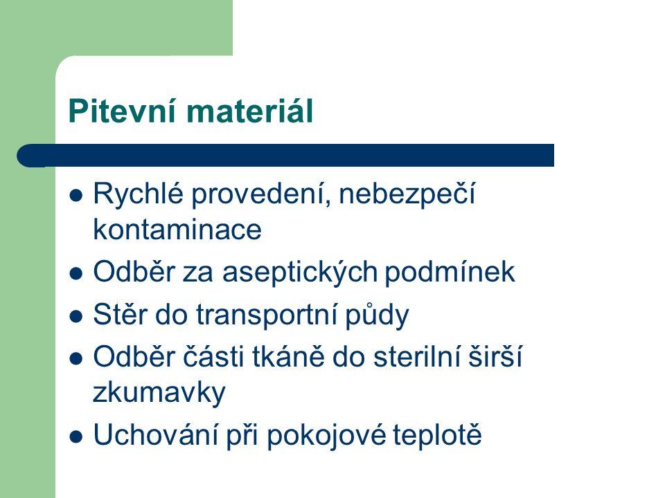 Pitevní materiál Rychlé provedení, nebezpečí kontaminace