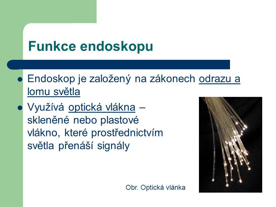 Funkce endoskopu Endoskop je založený na zákonech odrazu a lomu světla