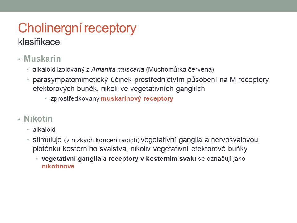 Cholinergní receptory klasifikace