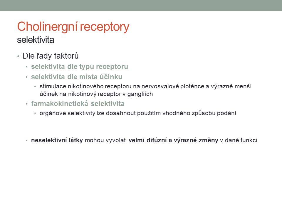 Cholinergní receptory selektivita