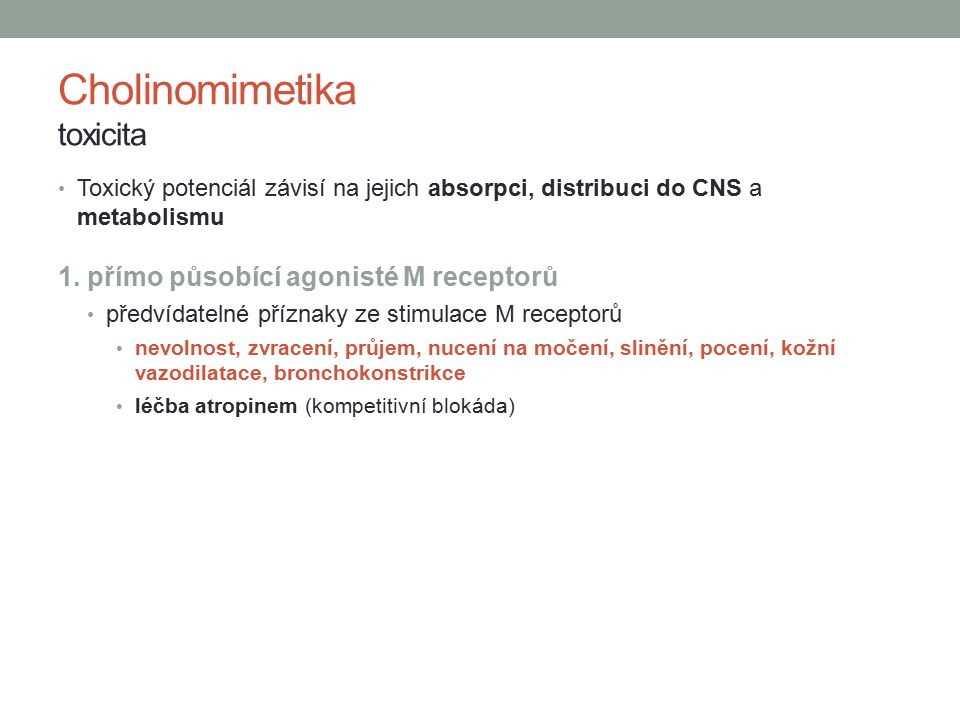Cholinomimetika toxicita