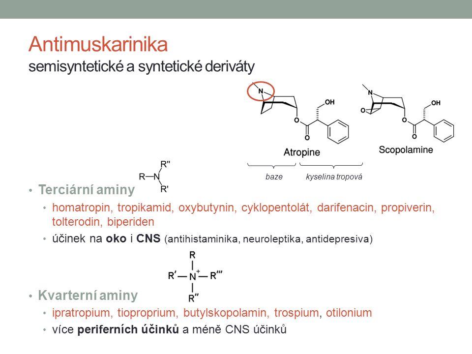 Antimuskarinika semisyntetické a syntetické deriváty