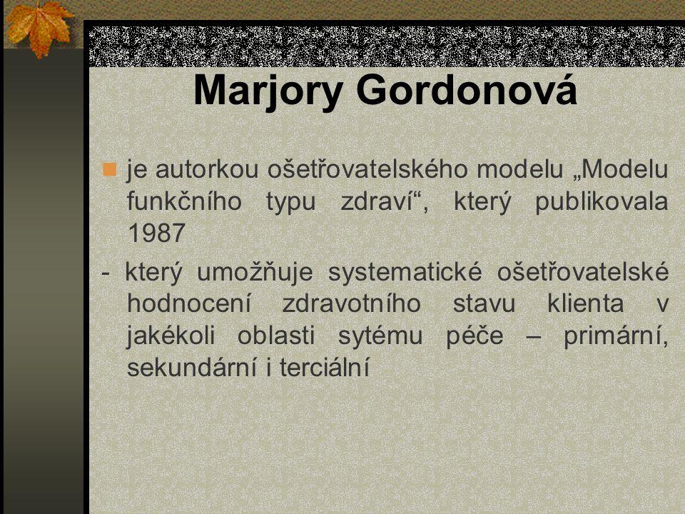 """Marjory Gordonová je autorkou ošetřovatelského modelu """"Modelu funkčního typu zdraví , který publikovala 1987."""
