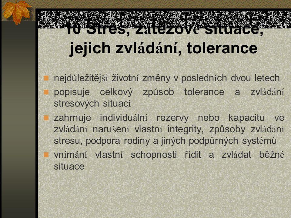 10 Stres, zátěžové situace, jejich zvládání, tolerance