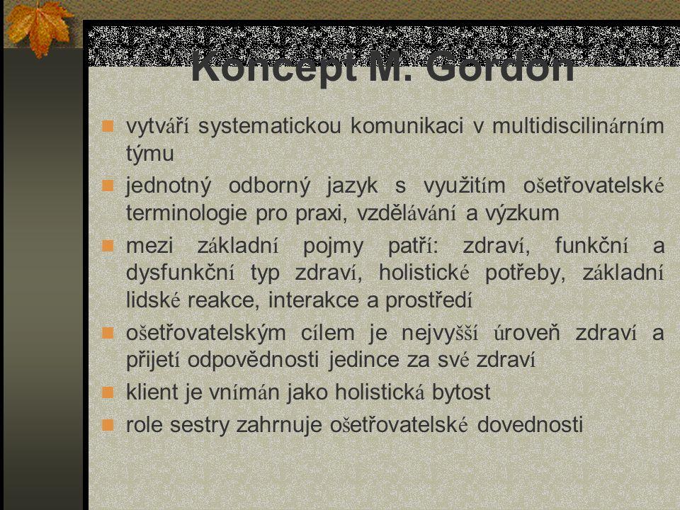 Koncept M. Gordon vytváří systematickou komunikaci v multidiscilinárním týmu.