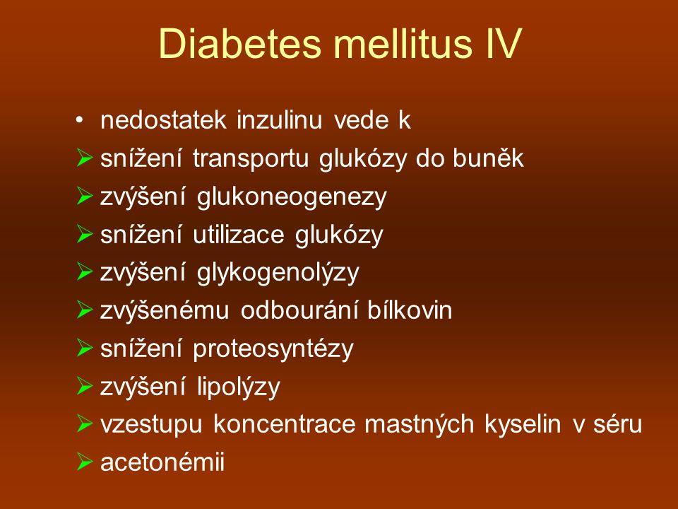 Diabetes mellitus IV nedostatek inzulinu vede k