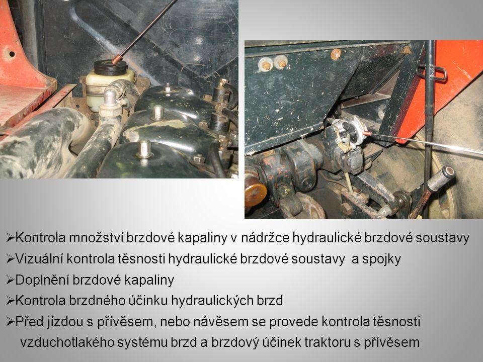 Kontrola množství brzdové kapaliny v nádržce hydraulické brzdové soustavy