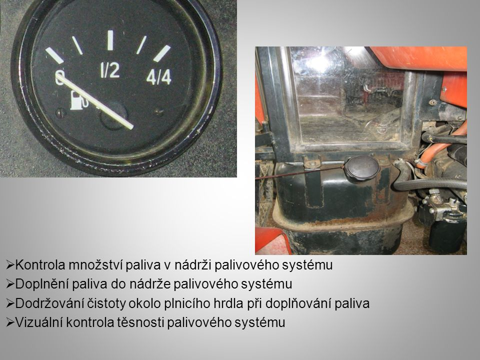 Kontrola množství paliva v nádrži palivového systému