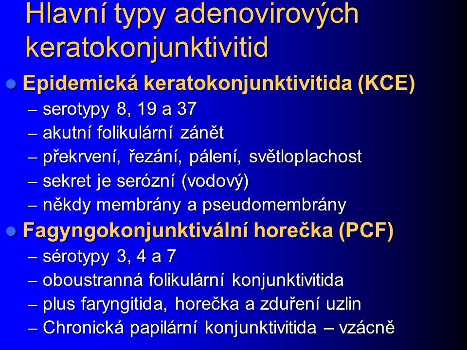 Hlavní typy adenovirových keratokonjunktivitid