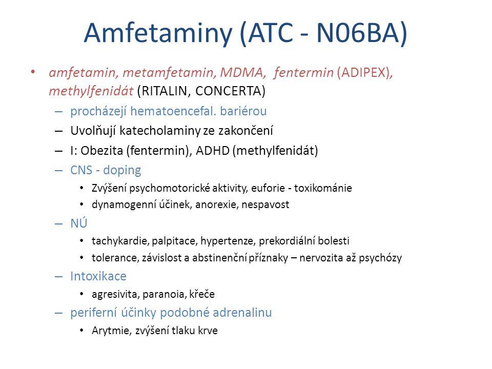 Amfetaminy (ATC - N06BA) amfetamin, metamfetamin, MDMA, fentermin (ADIPEX), methylfenidát (RITALIN, CONCERTA)