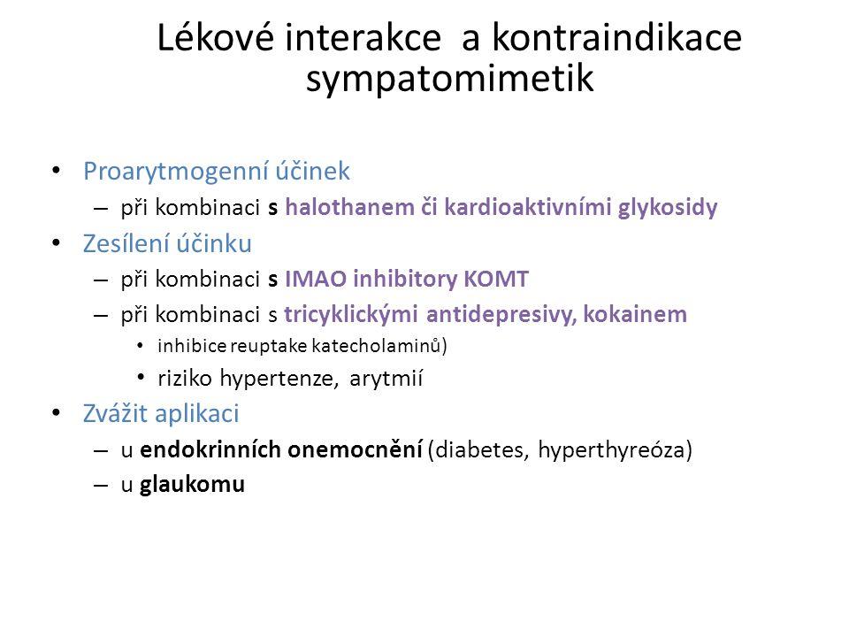 Lékové interakce a kontraindikace sympatomimetik