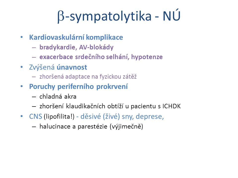 -sympatolytika - NÚ Kardiovaskulární komplikace Zvýšená únavnost