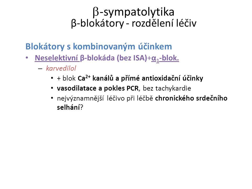 -sympatolytika β-blokátory - rozdělení léčiv
