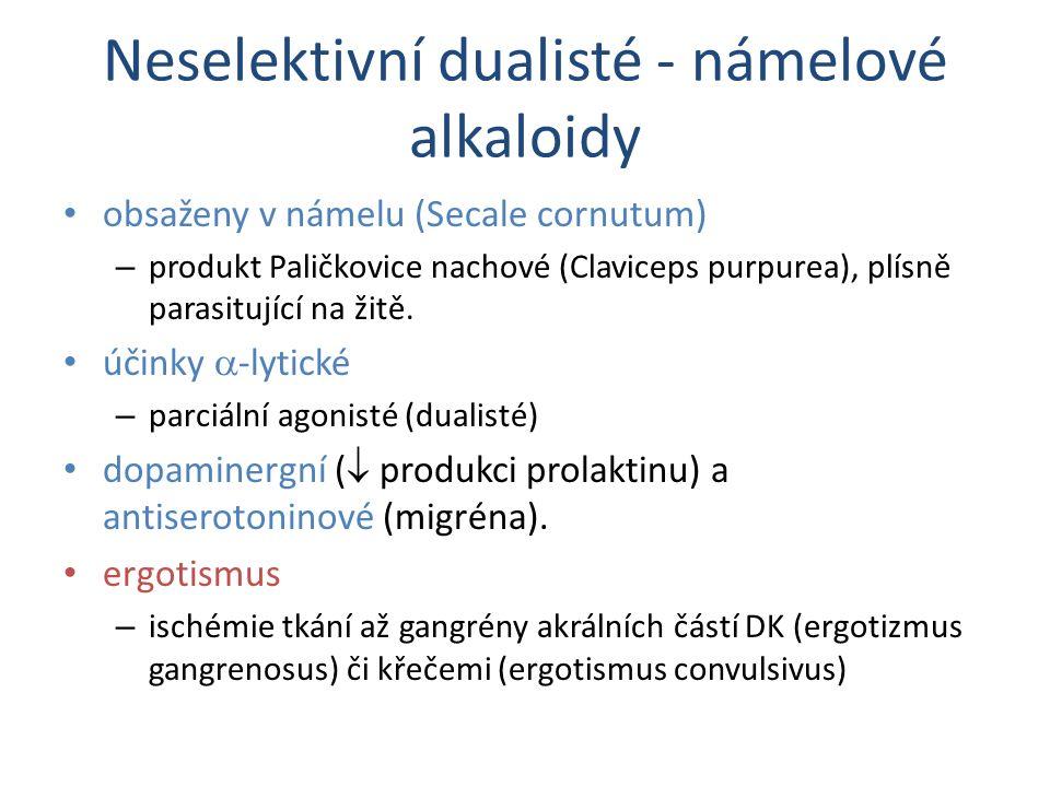 Neselektivní dualisté - námelové alkaloidy