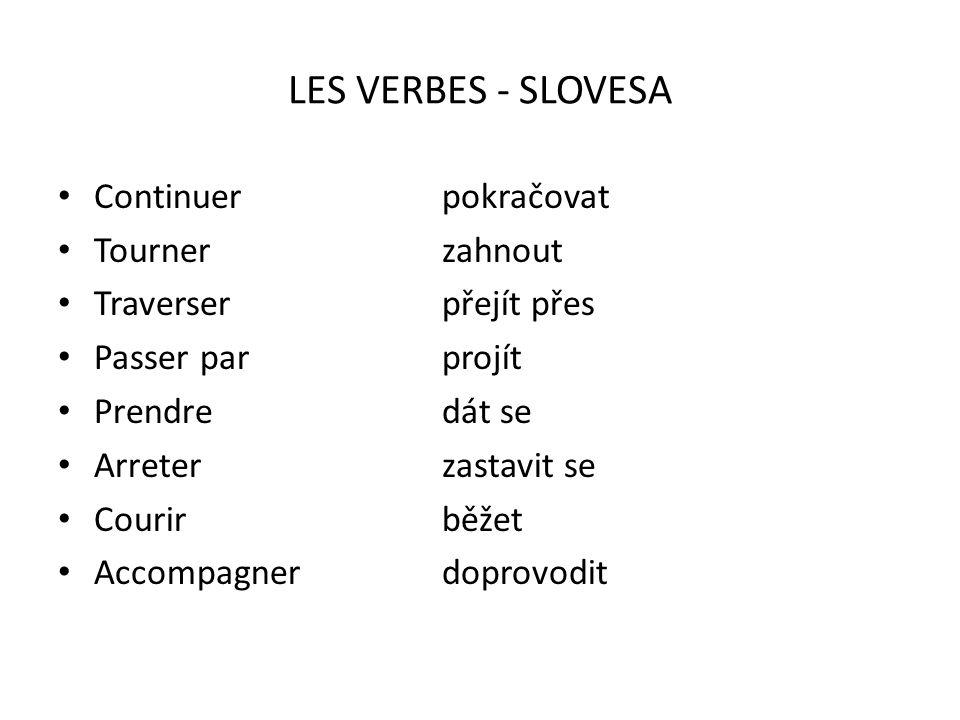 LES VERBES - SLOVESA Continuer pokračovat Tourner zahnout