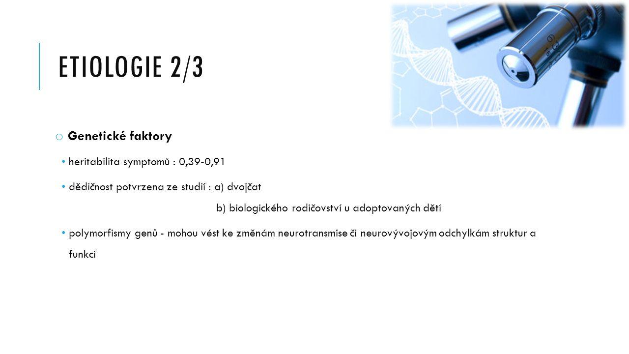 Etiologie 2/3 Genetické faktory heritabilita symptomů : 0,39-0,91