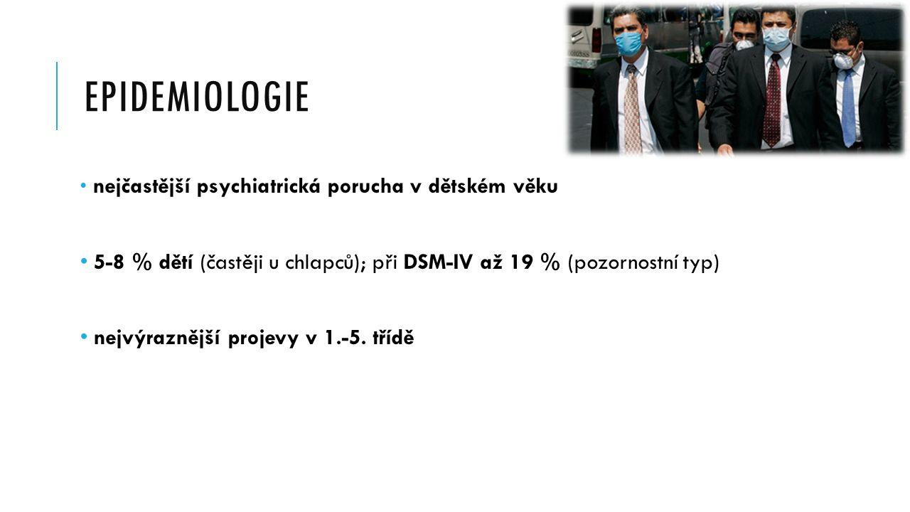 Epidemiologie nejčastější psychiatrická porucha v dětském věku. 5-8 % dětí (častěji u chlapců); při DSM-IV až 19 % (pozornostní typ)