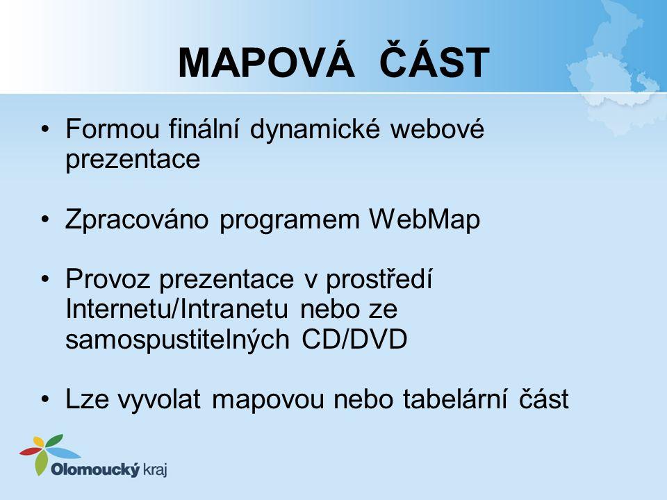 MAPOVÁ ČÁST Formou finální dynamické webové prezentace
