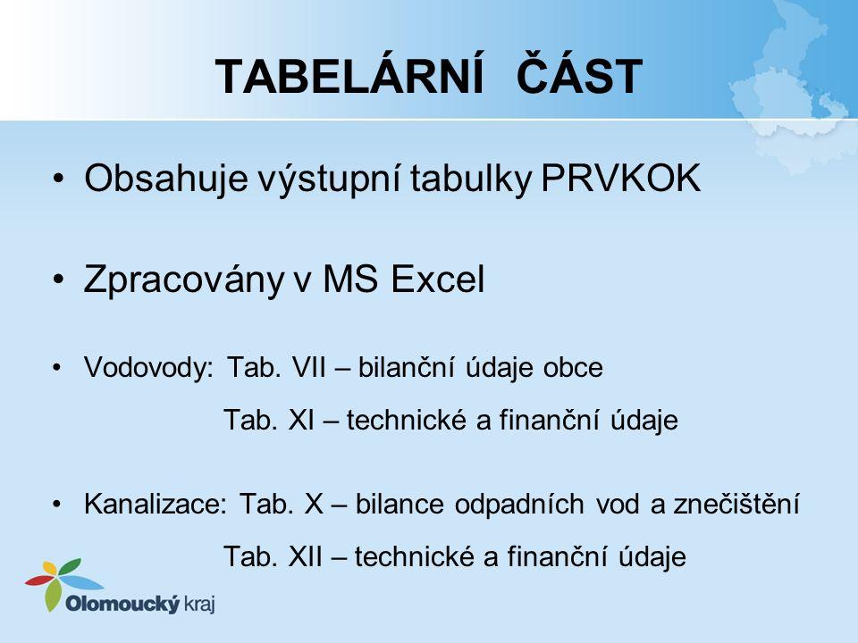 TABELÁRNÍ ČÁST Obsahuje výstupní tabulky PRVKOK Zpracovány v MS Excel