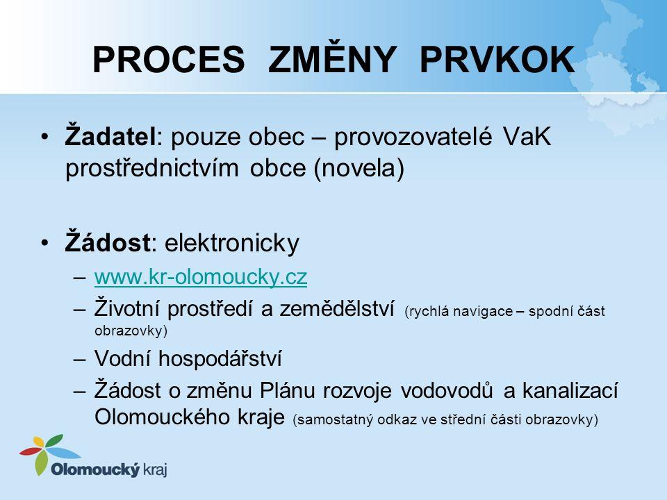 PROCES ZMĚNY PRVKOK Žadatel: pouze obec – provozovatelé VaK prostřednictvím obce (novela) Žádost: elektronicky.