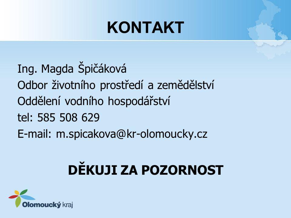 KONTAKT DĚKUJI ZA POZORNOST Ing. Magda Špičáková