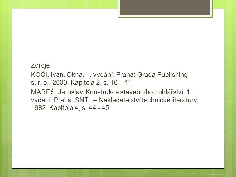 Zdroje: KOČÍ, Ivan. Okna. 1. vydání. Praha: Grada Publishing s. r. o
