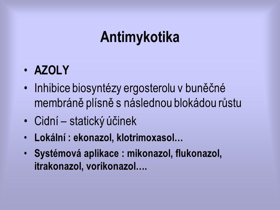 Antimykotika AZOLY. Inhibice biosyntézy ergosterolu v buněčné membráně plísně s následnou blokádou růstu.